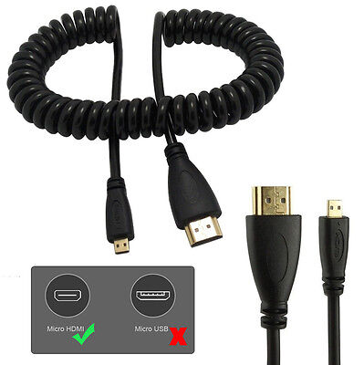 HDMI Male to Micro HDMI Male Spring Cord Cable Connector for 1080p 4K UHD HDTV #