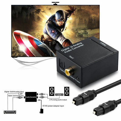 DAC Digital Optical Coaxial Toslink to Analog RCA Audio Converter Adapter+Cable