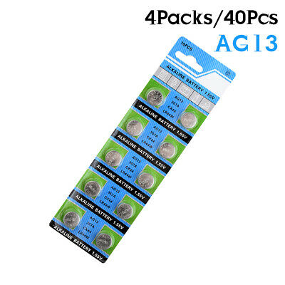 40Pcs 303 AG13 LR44 357A S76E SR44 G13 V303 Coin Cell Battery 1.55V Alkaline AB