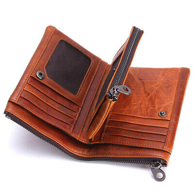 Mens Genuine Leather Wallet Soft Thin Cash Credit Card Zipper Coin Pocket Purse