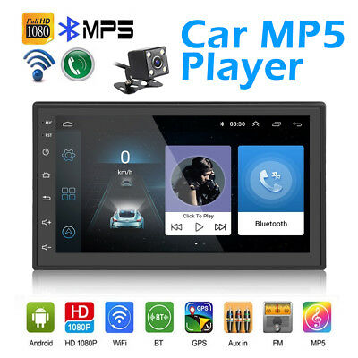 "Android 8.1 Double 2Din 7"" MP5 Player Quad Core Navi GPS Car Stereo with camera"