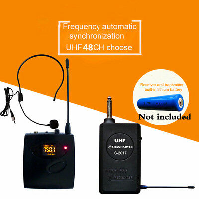 UHF Clip on Lapel Lavalier Wireless Microphone Headset Mic System 48 Channels