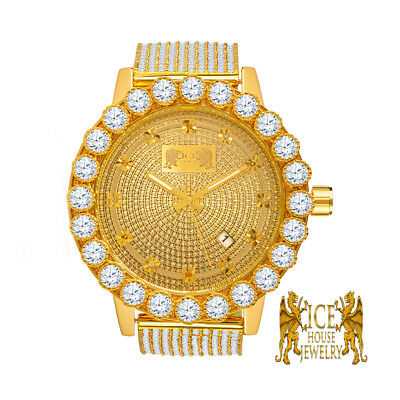 Mens Yellow Gold Iced Out Bezel Khronos Jojino Joe Rodeo Genuine Diamond Watch