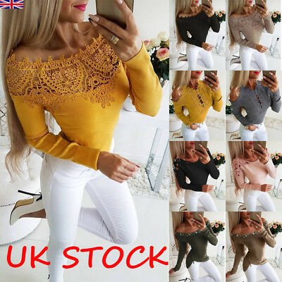Womens Off The Shoulder Lace Casual T-Shirt Ladies Long Sleeve Slim Tops Blouse