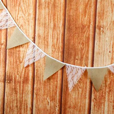 Rustic Lace Vintage Flax Chic Banner Bunting Wedding Anniversary Party Decor T