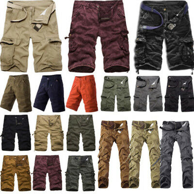 Mens Army Combat Cargo Multi-Pocket Shorts Military Long Trousers Casual Pants