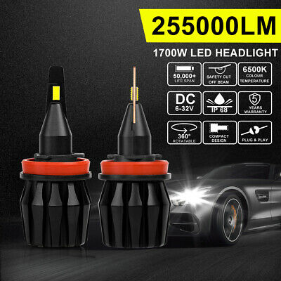 H11 H9 1700W 255000LM LED Headlight Globes Bulbs Kit Low Beam Replace HID Xenon