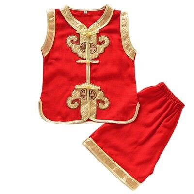 Baby Kid Boy Chinese Style Tunic Suit T-shirt + Pant Outfits Casual Clothes Set