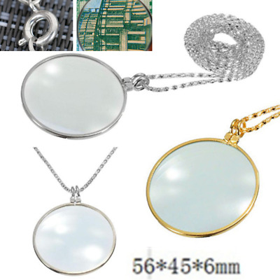 Utility 5x Necklace Magnifier Decorative Monocle Lens Magnifying Glass Pendant