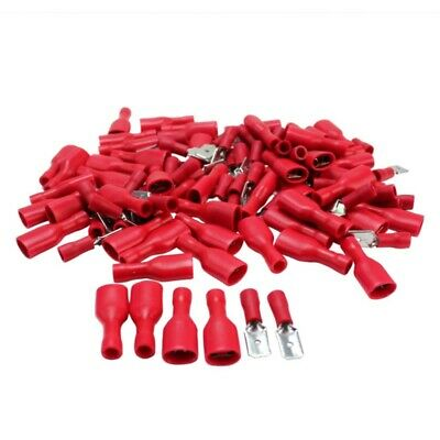 100Pcs Red Male&Female Insulated Crimp Spade Terminal Car Wire Connector Kits