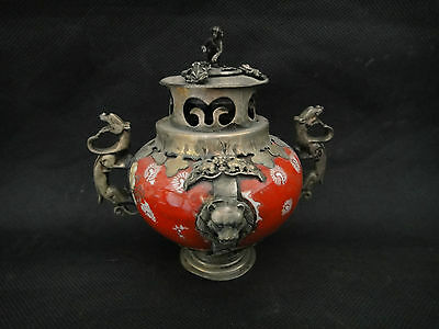 old china handwork superb redporcelain incense burner armored ragon lion monkey