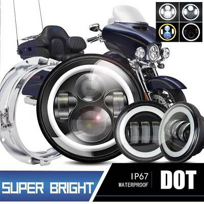"7""inch Halo LED Projector Headlight+Passing Lights For Harley Road King"