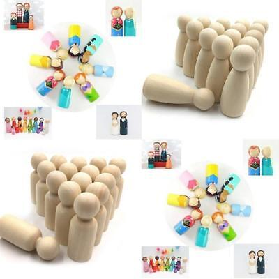 20pcs Wood Peg Doll Little People Baby Kids Child Wooden Peg Dolls DIY Craft