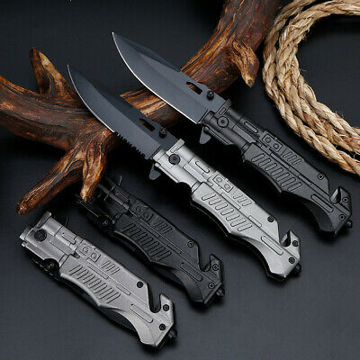 """8"""" Pocket Tactical Folding Survival Military Knife Spring Assisted EDC"""