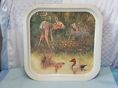 Vintage Willow Australia Most Gorgeous Square Metal Serving Tray. A Rare Beauty!