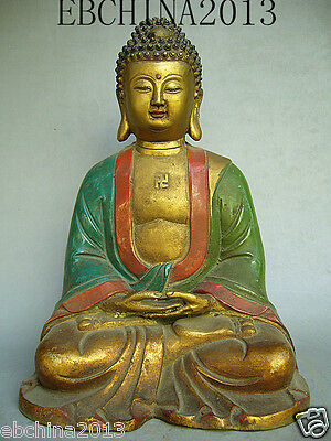 "10""Chinese culture old antique collection pure bronze Glaze the Buddha statue"