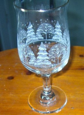 Winter Scene White Frosted Etched Tree Goblets Water Glasses Christmas