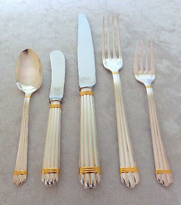 Christofle Aria Gold sterling silver 5 pc place setting knife fork spoon butter