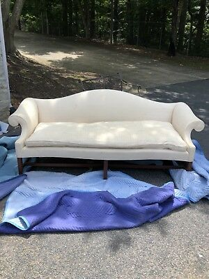 Custom Chippendale Style Camel Back Sofa, Cherry