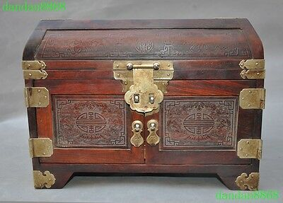 rare old chinese huanghuali wood classical beauty Belle drawer box boxes statue