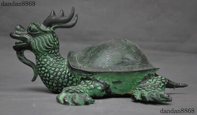 Old Chinese Ancient Bronze Feng shui Auspicious Gods Dragon turtle Beast Statue