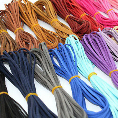 5Pcs X 5m Leather Cord Soft Suede Thong Lace Flat Rope Thread String Craft 3mm