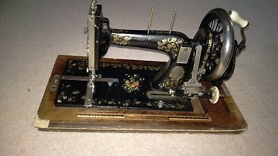 Antique Sewing Machine Original Key And Wooden Case With Key German Plaque