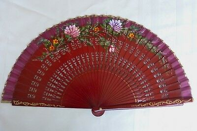 Fine One Of Kind Vtg Chinese Lacquer 2 Sided Floral Hand Painted Fan On Wood