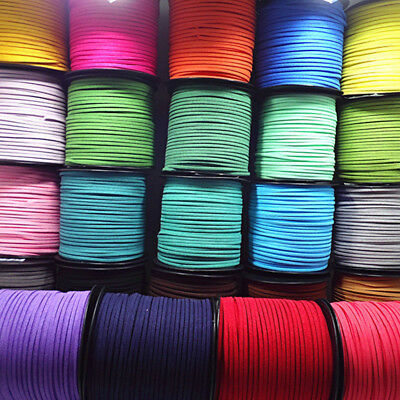 100 yards Leather Cord Soft Suede Thong Lace Flat Rope Thread String Craft 2.7mm