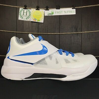 best sneakers 72202 e920d Nike Zoom KD 4 IV CT16 QS Thunderstruck White Blue Grey AQ5103 100 Size 10.5