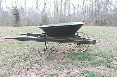 Vintage  Metal Wheelbarrow Wheel Barrow  Antique Farm Tool 8 Spoke