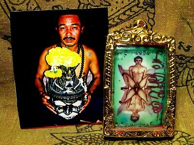 Thai Amulet For Gay Love Sex Charm Gold Micron Case Hole Pendant Necklace Old