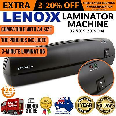 A4 Laminator Machine with 100 LAMINATING POUCHES Home Office Document Laminating