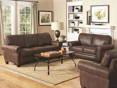 Traditional Living Room Couch Set New Brown Wood Trim Fabric Sofa