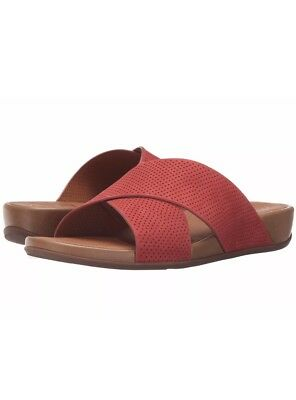 81e2756fc9e08f NEW FITFLOP Sz 5 US AIX SLIDE PERF SANDALS LEATHER NUBUCK DUSTY RED  130