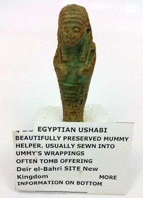 Egyptian Ushabti Mummy Helper Faience Figurine Deir El-Bahri Site