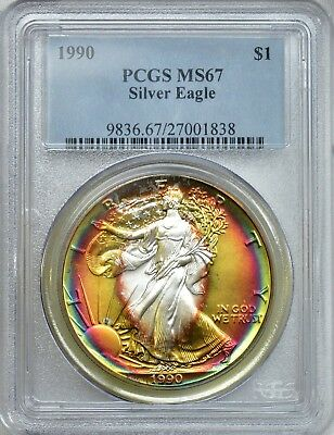 PCGS 1990 MS67 Lustrous and vibrant target toned Silver Eagle