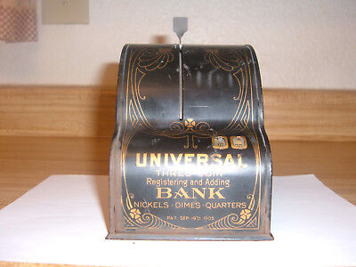 """Cash Register BANK """"Universal Three Coin Registering and Adding Bank"""" 1905"""