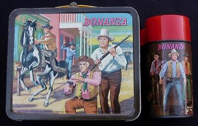 Vintage BONANZA Lunchbox & THERMOS - TV Western - Man Cave (1965) C-8.5 Awesome!