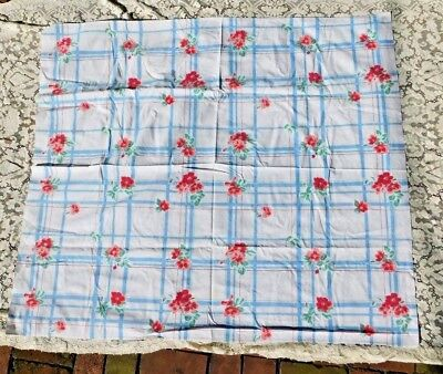 Vintage Blue White Geometric Shapes W Pink Flowers 1950's Colorful Tablecloth