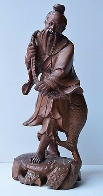Antique Fine Carved Wood Asian Fisherman God Sculpture Statue Figurine Rare
