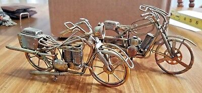"""Lot Of 2   Model Motorcycles    Metal  Folk Art  3 and 1/2"""" Tall and 7"""" Long"""
