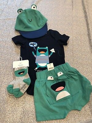 NWT Baby Gap boy 5-piece green frog SUMMER socks hat outfit SET 0 3 month