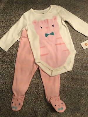 NWT Gymboree Baby Girl 2-piece Pink Kitty Cat Bodysuit Outfit SET 3 6 Month