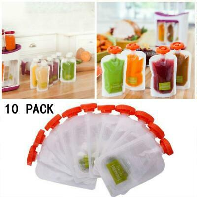 10Pcs Reusable Squeeze Pouches Fresh Squeezed Squeeze Station Baby Weaning Food
