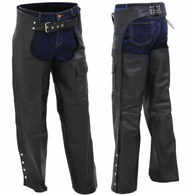 Rocky Mountain Hides Solid Genuine Buffalo Leather Motorcycle Chaps XL