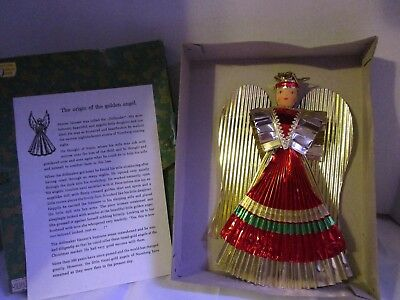 Antique Nurnberg Germany Foil GOLDEN ANGEL Figure Tree Topper in Original Box
