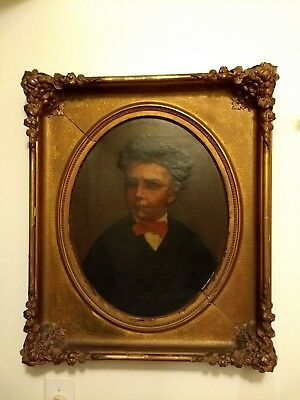 Antique 19th Century Oil On Canvas Portrait Of Young Man In Highly Ornate...