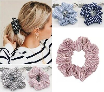 Cotton Fabric Scrunchie Elastic Hair Tie Ponytail Holder Stripes Plain Polka Dot
