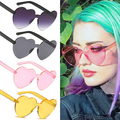Fashion Girl Heart-shaped Rimless Frame Sunglasses UV400 Candy Color Glasses NEW
